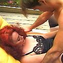 Redhead granny in outdoor hardcore